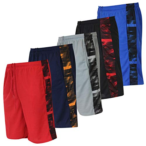 Basketball T-shirt Shorts - American Legend Mens Active Athletic Performance Shorts - Set 4-5 Pack, XXL