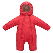 Happy Cherry Baby Romper Snowsuit Hooded Puffer Jacket Warm Down Thick Jumpsuit