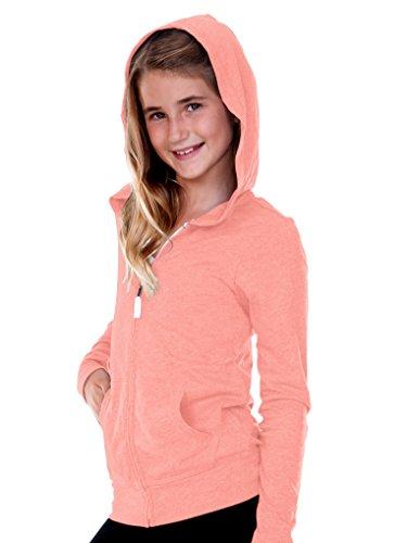 Kavio! Big Girls 7-16 Jersey Long Sleeve Zip Up Hoodie Flamingo M