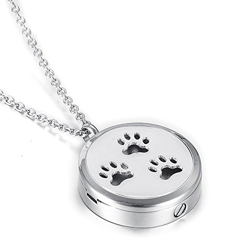 Dog Paw Memorial Locket Necklace Hold Photo & Ashes Keepsake Cremation Urn Pendant For Pet/Free Filling Kits +Screwdriver