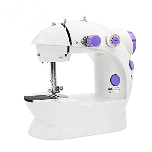 Portable Sewing Machine, Portable Sewing Double Speed Mini Sewing Machine with Lamp / Thread Cutter White and Purple Design Mini Household Crafting Mending Machines with Foot Pedal Switches by JIAXING