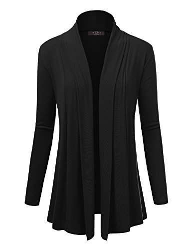 Made By Johnny WSK1301 Womens Open Draped Knit Shawl Cardigan M Black
