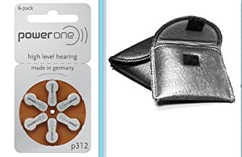 6 p312 Power One Hearing Aid Batteries includes FREE Hearing Aid Storage Pouch