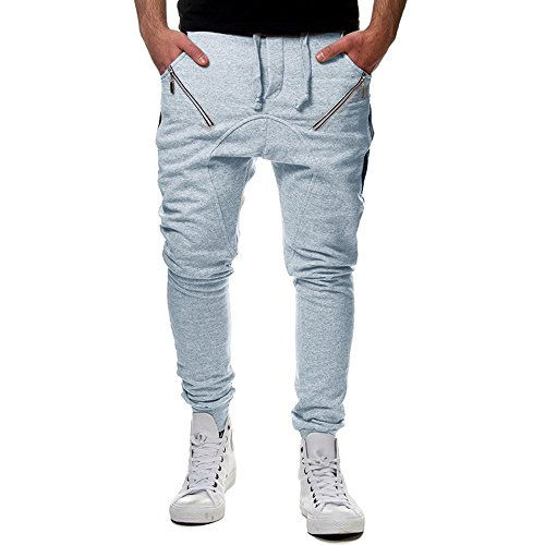Seaintheson Men's Pants,Casual Zipper Sports Running Gym Workout Jogger Pants Elastic Waist Straight Trousers -