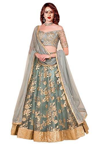 d45f6620c60 Shivam Embroidery Women s Silk Embroidered Lehenga Choli (Grey