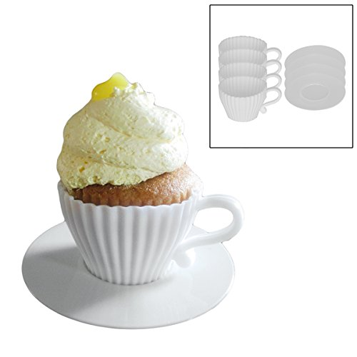 Oven Saucers Cups Safe (Evelots 4048-R Cupcake Serving, One Size, White)