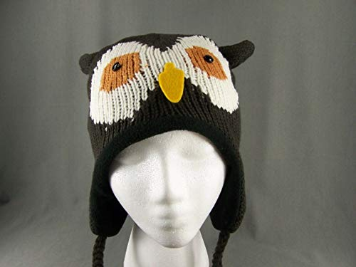 Brown White Black hoot OWL plaid trapper trooper hat ear warmer knit ski cap