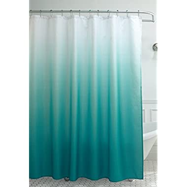Creative Home Ideas Ombre Waffle Weave Shower Curtain with 12 Color Coordinated Metal Roller Rings in Marine Blue