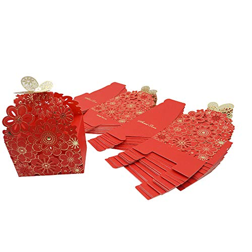 Kslong 50Pcs/Set Flower Butterfly Hollow Candy Box Cookie Gift Boxes Romantic Wedding Favors Cute Chocolate Box for Wedding Bridal Birthday Party Supplies (Red, S)