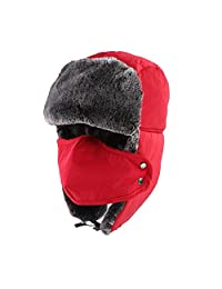 KOBWA Unisex Winter Trapper Hat Ushanka Trooper Bomber Cap with Ear Flap Chin Strap Mask for Skiing/ Hunting/ Outdoor Work
