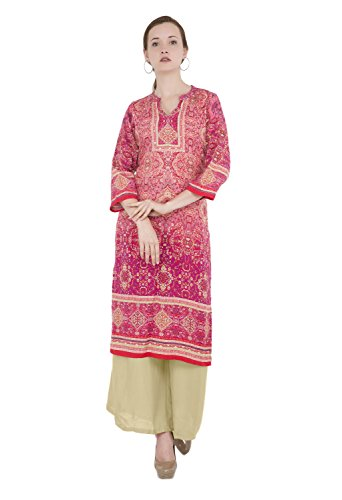 Lagi Designer Women's Rayon Straight Kurta Indian Tunic Top Womens Printed Blouse India Clothing Small Pink (Churidar Suits Designer)
