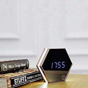WYZQ Reloj Despertador Reloj Digital Simple con Sonidos Y Luz Led Termómetro De Espejo para Adolescentes Niños Dormilón Pesado Día De La Semana Reloj ...