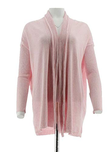Tommy Hilfiger Ribbed Long Sleeve Cardigan Sweater Side Slits Stretch Pink S New