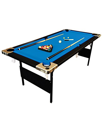 SIMBASHOPPING USA 6' Feet Blue Billiard Pool Table Portable Snooker Accessories incl. Game DENVER