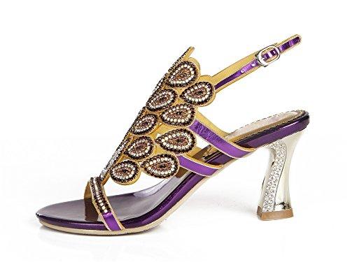 Sandalias Medio Estampado Diamante Mujer Real Nupcial Boda Purple Imitación Tacón Hecho a NVXIE Pavo Paseo Señoras Mano Noche de awPwC1q