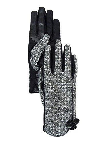 Isotoner Women's Signature Smartouch Basket Weave Bow Dress Gloves (XL, Black)