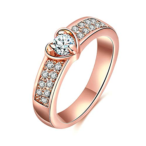 ANAZOZ Gold Plated Womens Band Rose Gold Love Heart Promise with CZ Engagement Wedding Size 7 ()