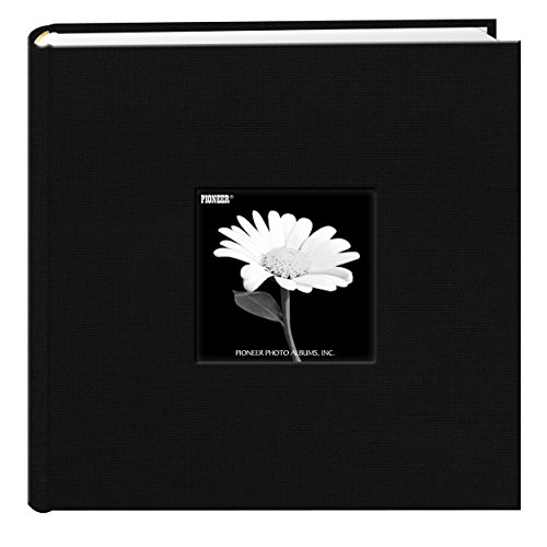 Fabric Frame Cover Photo Album 200 Pockets Hold 4x6 Photos, Deep Black ()