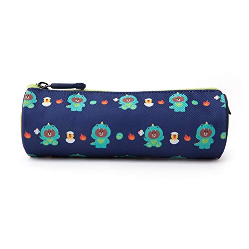 LINE FRIENDS Children Pencil Case - Dino Brown Character Cute Pen Pouch Organizer Stationery Bag Pouch for Kids, Navy