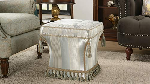 Jennifer Taylor Home Savannah Collection Mid Century Modern Living Room Square Pedestal Fringe and Trim Tassel Ottoman, Gray
