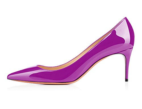 Stiletto 65MM Pointed uBeauty Womens On Patent Shoes Leather Suede High Purple Work Heels Or Slip Court Pumps Toe gg0waqFx