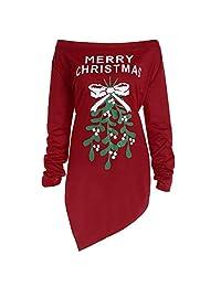 Sweatshirt Christmas Dress,Women's Print Letter Tree Long Sleeve One Shoulder Casual Xmas Party Dresses by-NEWONESUN