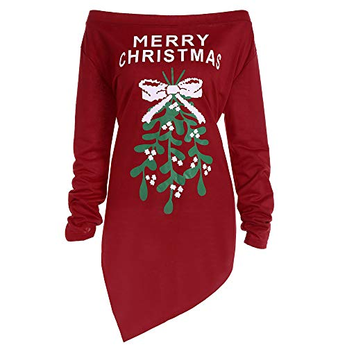 iYBUIA Cotton Women O-Neck Xmas Print Letter Dress Ladies Christmas Tree Long Sleeve Party Mini -