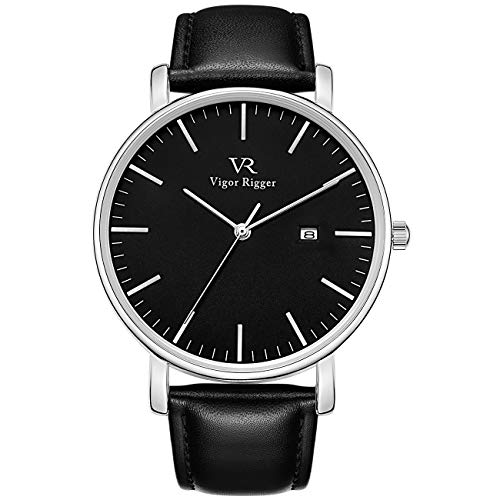 Vigor Rigger Men's Fashion Slim Quartz Date Wrist Watch with Leather & Mesh Band (Silver) Band Star Wrist Watch