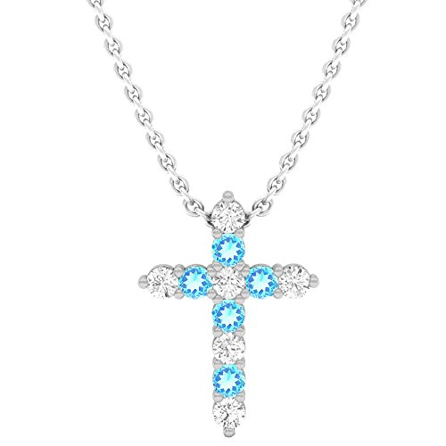 - Dazzlingrock Collection 18K Round Blue Topaz & White Diamond Ladies Cross Pendant, White Gold