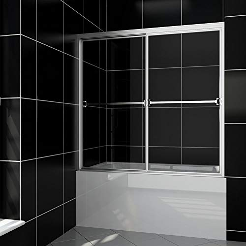 SUNNY SHOWER New Version! Bypass Sliding Bathtub Shower Doors 56