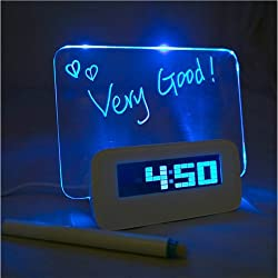 Vktech Blue LED Fluorescent Digital Alarm Clock Message Board USB 4 Port Hub