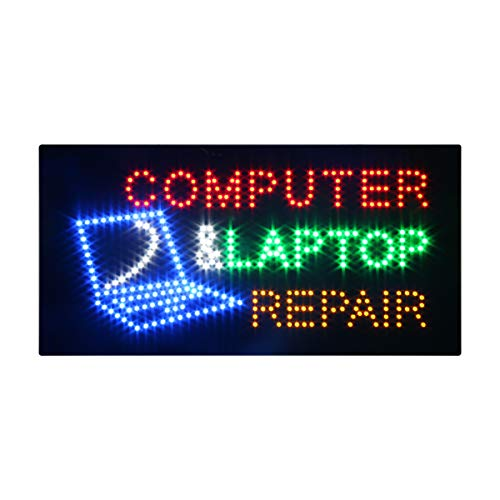 (LED Computer Repair Open Light Sign Super Bright Electric Advertising Display Board for Message Business Shop Store Window Bedroom 24 x 12 inches)