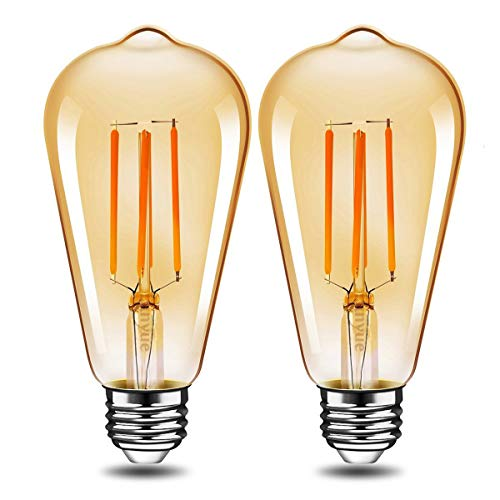 (LED Edison Light Bulb Dimmable Antique Decorative Light Bulbs Amber ST64 4W (40W Equivalent) E26 Medium Base Squirrel Cage LED Bulbs Warm White 2700K for Wall Sconces Pendant Lighting 2 Pack)