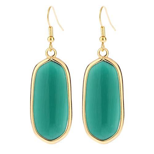 BaubleStar Natural Crystal Healing Stone Drop Earrings Green Opal Jasper Gemstone Quartz Oval Dangle Gold Fashion Jewelry for Women Girls - Jasper Quartz Earrings