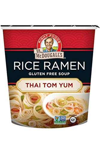 Dr. McDougall's Right Foods Asian Soup Thai Tom Yum Rice Noodle Soup, 1.0 Ounce Cups (Pack of 6) Gluten-Free, Non-GMO, No Added Oil, Paper Cups From Certified Sustainably-Managed - Free Gluten Pea Split Soup