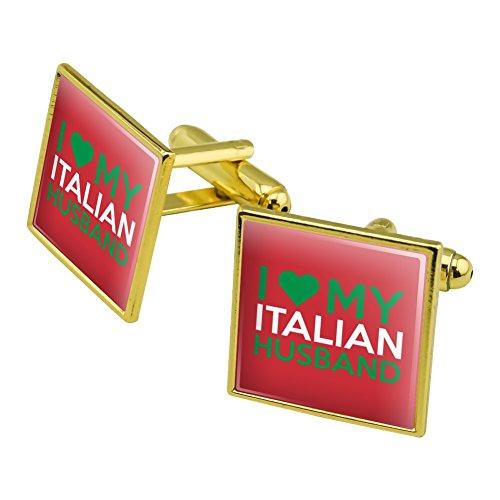 I Love My Italian Husband Square Cufflink Set Gold Color (Square Cufflinks Italian)
