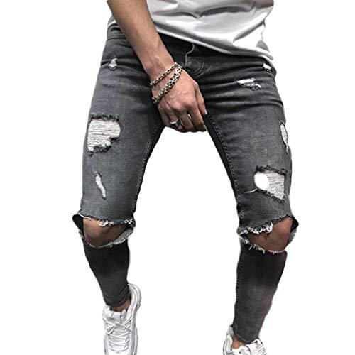 Ristrutturato Da Vintage Pantaloni Grau Skinny Jeans Strappati Knee Giovane Fashion Uomo Denim Fit Stretch Sfilacciato XXrq0Y