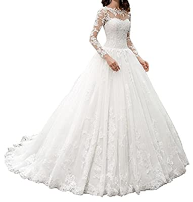 missgotti Ball Gown Lace Long Wedding Dresses With Sleeves Wedding Gowns HWD044