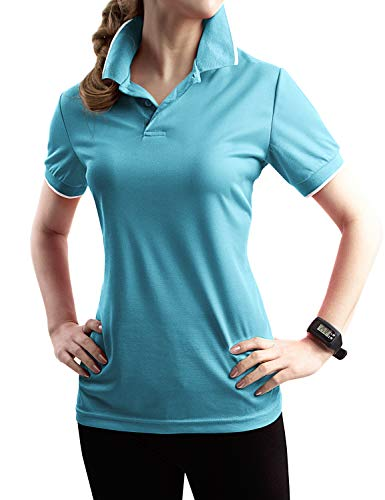 TWINTH Womens Active Sports Wear Short Sleeve 2-Button Polo T Shirt with Plus Size Aqua ()