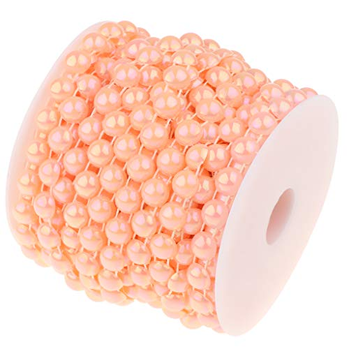 SM SunniMix Pearl Beads Garland Pearl Bead Roll Strand for Wedding Party DIY Decoration, 49 Feet - Pink