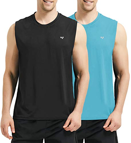 (Roadbox Men's 2 Pack Performance Sleeveless Workout Muscle Bodybuilding Shirt Athletic Running Quick-Dry T-Shirt(Small, Black&Bright Blue))
