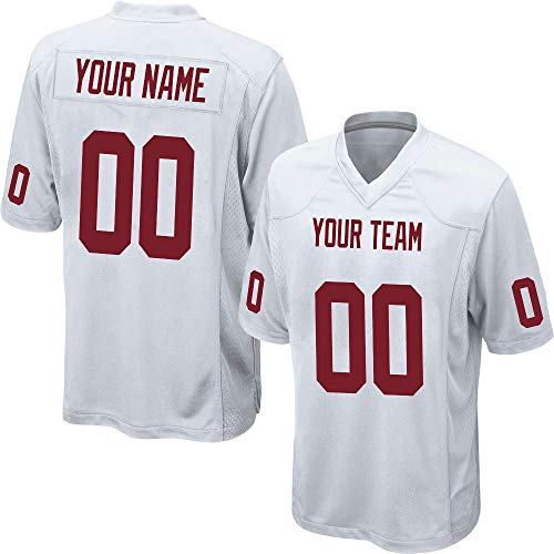 7c7a0a90a Custom Men s White Mesh Football Game Jersey Big   Tall Stitched Team Name  and Your Numbers
