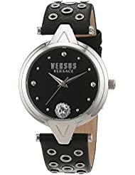 Versus by Versace Womens V Versus eyelets Quartz Stainless Steel and Leather Casual Watch, Color:Black (Model...