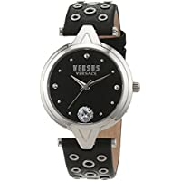 Versus by Versace Women's 'V Eyelets' Quartz Stainless Steel and Leather Casual Watch, Color:Black (Model: SCI010016)