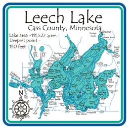 Leech Lake Laser Etched Cribbage Board Cass Mn 9