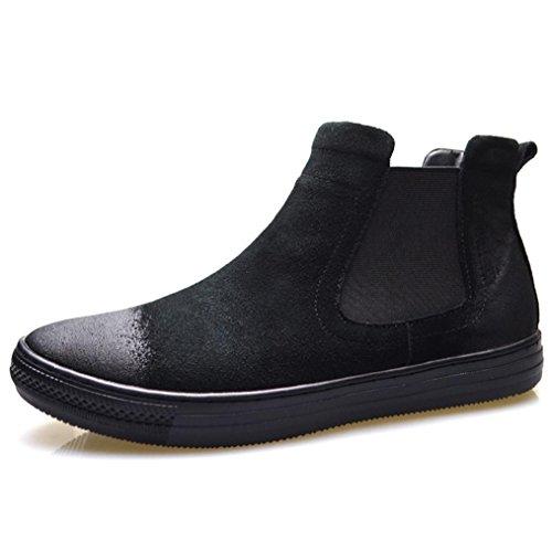 Heart&M zapatos de cuero de los hombres casual cuero genuino de la alta corte gamuza Black