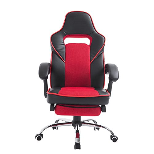 homcom race car style high back pu leather reclining office chair with footrest red and black. Black Bedroom Furniture Sets. Home Design Ideas