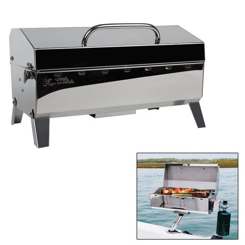 (Kuuma Stow and Go Propane Tabletop and Mountable Grill - Stainless Steel Gas Grill with Foldable Legs | Great for Camping, Boating, Picnics, Barbeques & More |13,000 BTUs - (58130))