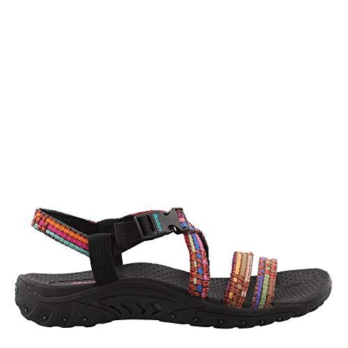 (Skechers Women's Reggae-SEW ME-Boho Woven Strappy Slingback Sandal, Black/Multi, 11 M US)