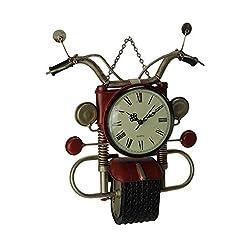 Upper Deck Red Metal Art Retro Motorcycle Wall Clock Sculpture